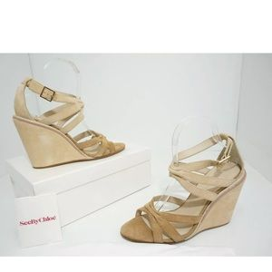 See by Chloe Tan Suede Wedge High Heels Sandals